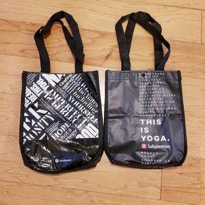 Lot of 2 Lululemon Black Reusable Shopping Bags